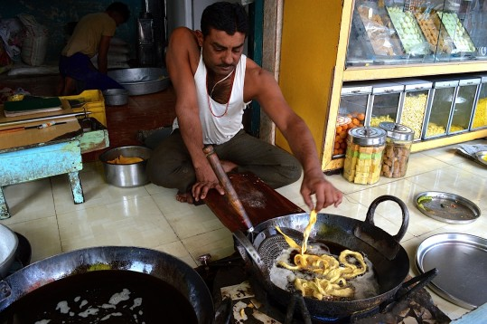 cooking in a small shop
