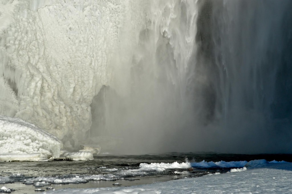 Iceland. Close upwaterfall