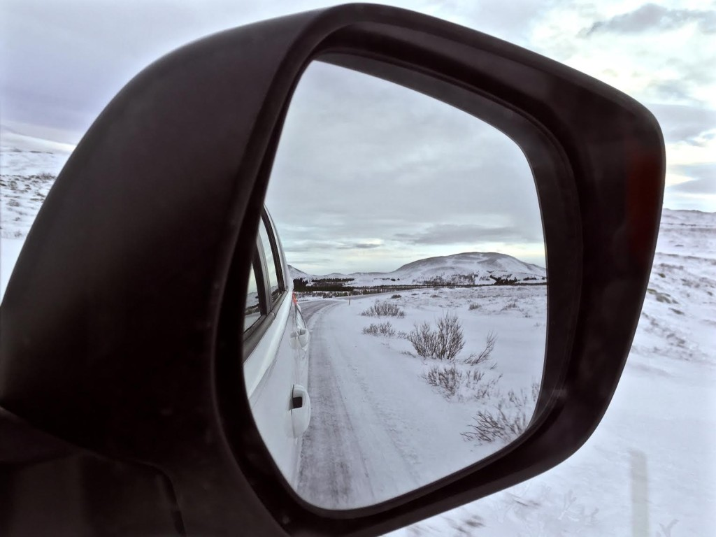 Iceland. Thru the car mirror