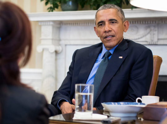 President Obama in the Oval Office on Friday during an interview with Michiko Kakutani, the chief book critic for The New York Times. Credit Doug Mills/The New York Times